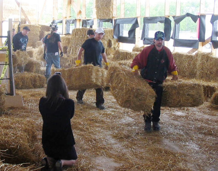 Carrying straw bales